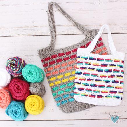 Mosaic Crochet Tote Bag