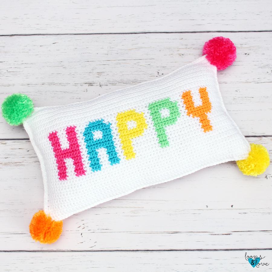 Crochet Happy Pillow Loops and Love Crochet