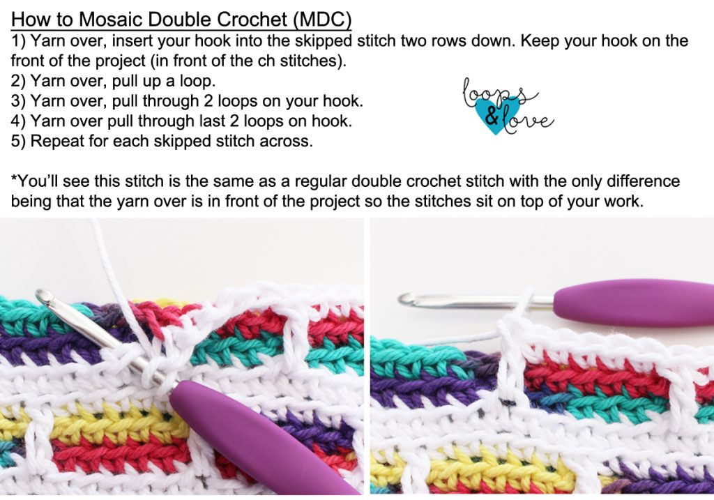 How to mosaic double crochet tutorial photo