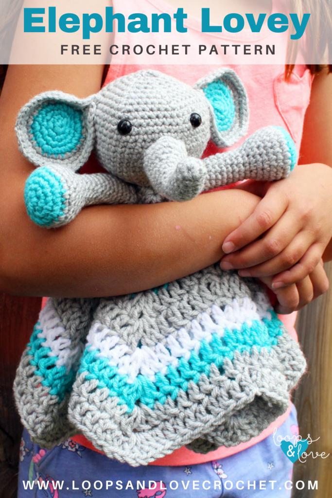 Pinterest pin for elephant lovey crochet pattern