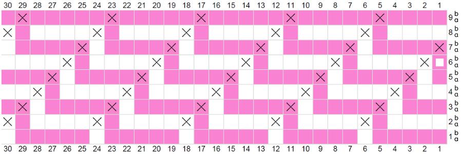 mosaic crochet graph for mosaic zig zag bag pattern