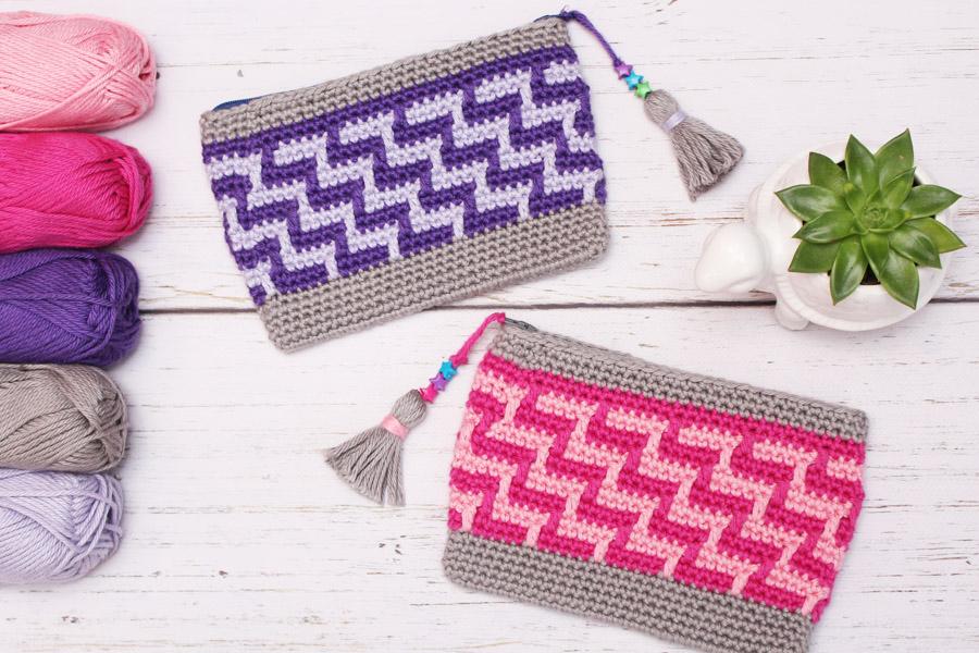 mosaic crochet bag with tassels
