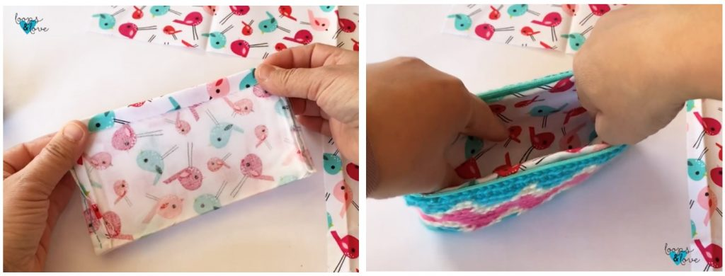 sewing the lining into the crochet bag